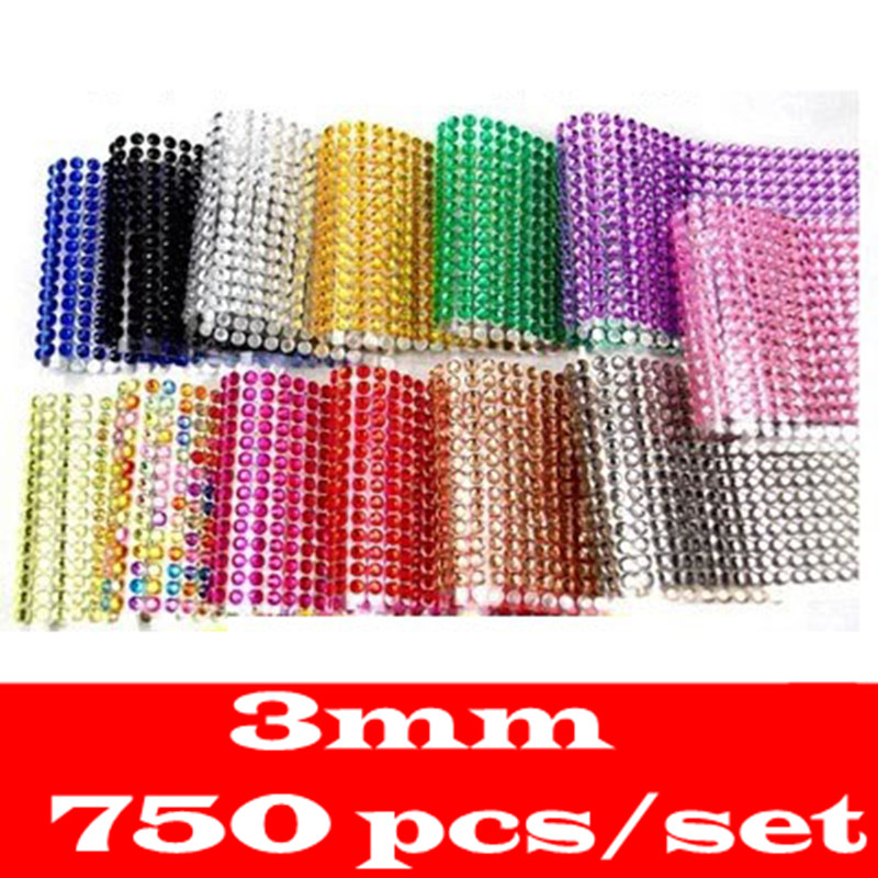Wholesale Sticker 3mm 750Pcs 12colorDIY Decal Mobile/Pc Art Crystal Diamond Bling Rhinestone Self Adhesive Stickers crystals rhinestones car decor decal styling accessories mobile art diamond self adhesive sticker flat acrylic drilling stickers