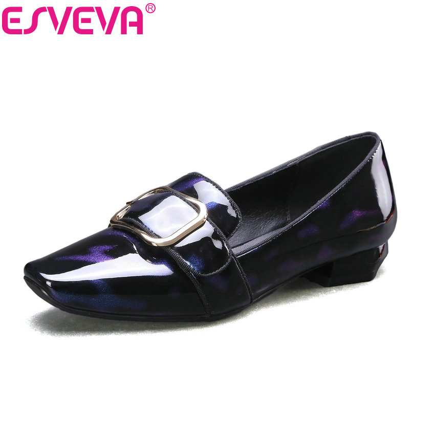 ESVEVA 2017 Spring Autumn British Style Real Leather Women Pumps Buckel Square Toe Women Shoes Square Low Heel Pumps Size 34-39 esveva 2017 new pointed toe pu women pumps lace up british style fashion shoes women spring square high heel pumps size 34 39