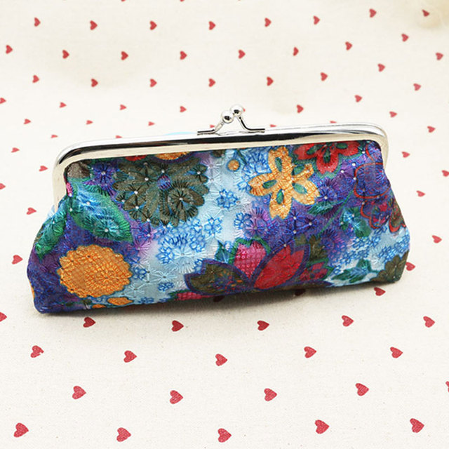 Polyester flower coin purses hand wallet small wallet key bag for kids
