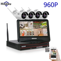 4CH 960P 10 Inch Displayer Wireless CCTV System NVR IP Camera IR CUT Bullet CCTV Home