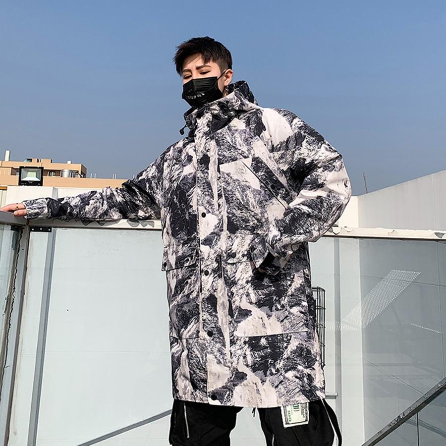 Korean Long Jacket Men Camouflage Hooded Trench Coat Men Spring Street Style Military Trenchcoat Mens Overcoat Abrigo Hombre