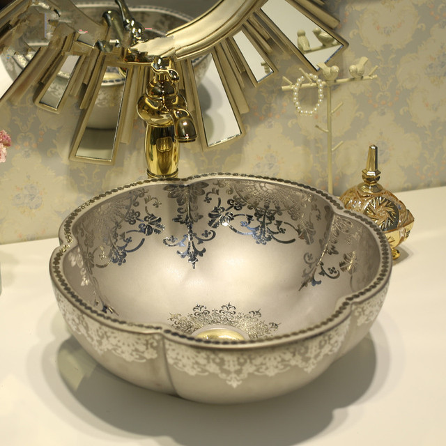 Flower Bathroom Counter Top Wash Basin Cloakroom Hand Painted Vessel Sink Silver Pottery
