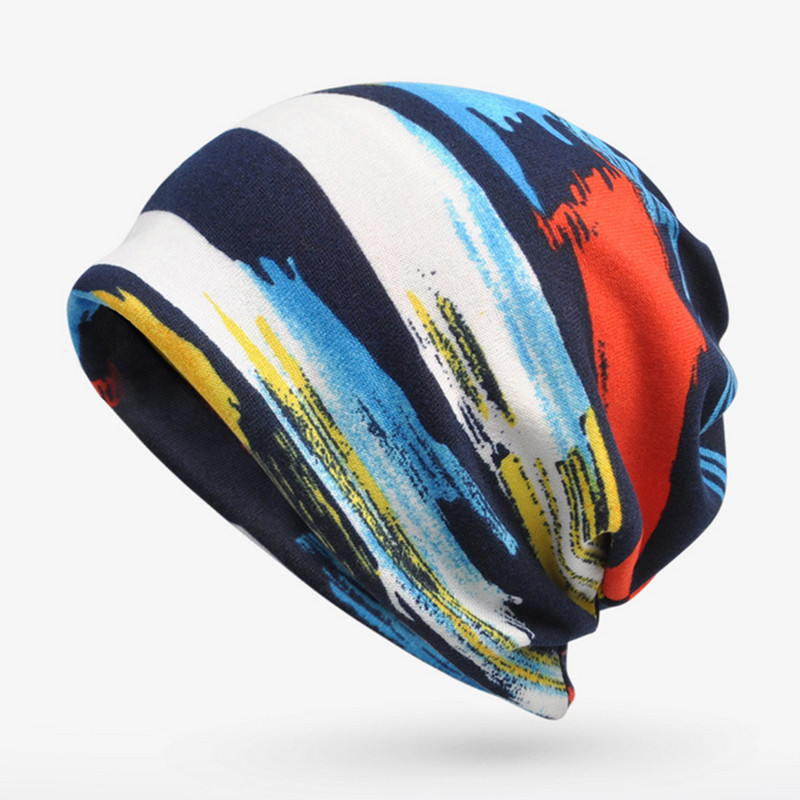 48e3411356b1d 2017 Beanies Striped Hip-Hop Collar Scarf Hats Skullies Baggy Cap Multi  Purpose Baggy Hat