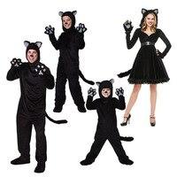 2017 ניו ליל כל הקדושים משפחה כמה מבוגרים וילדים בגדי ביצועי שלב תחפושת זוג Wildcat משחק תפקידים שחור קטן