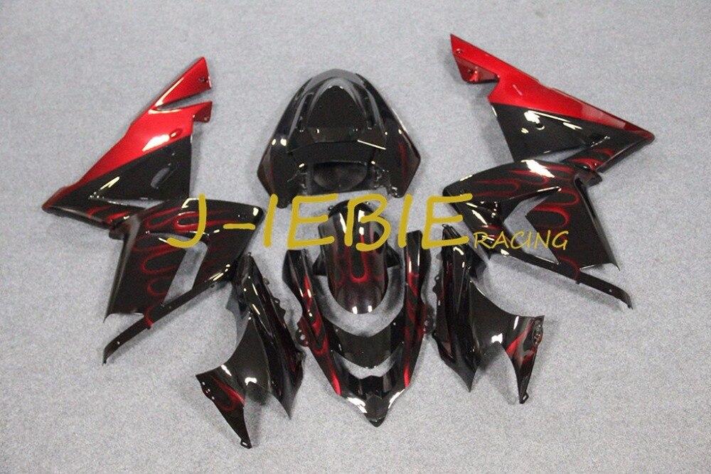 Black red fire Injection Fairing Body Work Frame Kit for Kawasaki NINJA ZX10R ZX10 ZX 10 R 2004 2005