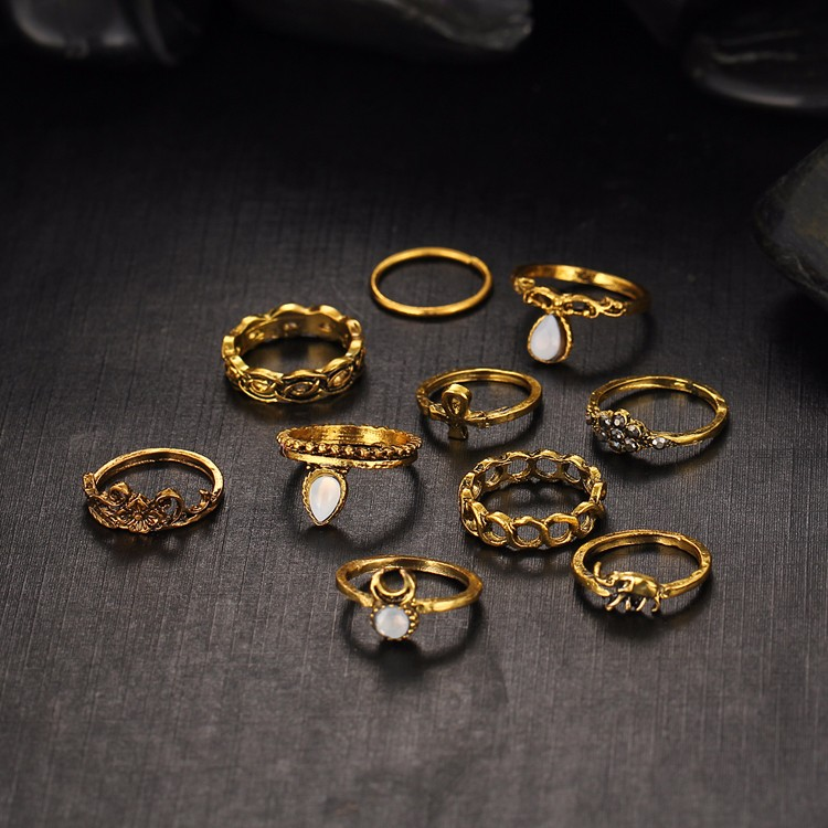 HTB1pOZXMVXXXXXXXFXXq6xXFXXXf Fashionable Turkish Boho Vintage Punk Retro Style Midi Ring Set For Women - 2 Colors