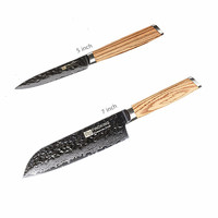 Nebra Wooden Handle 5 inch Damascus Steel Kitchen Knife Set 67 Layer Japanese Chef Knife Set 7 inch Knife Cooking Tools