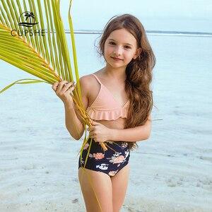 CUPSHE 2020 Toddler Girls Kids Baby Pink Ruffled High Waist Bikini Sets Swimsuits