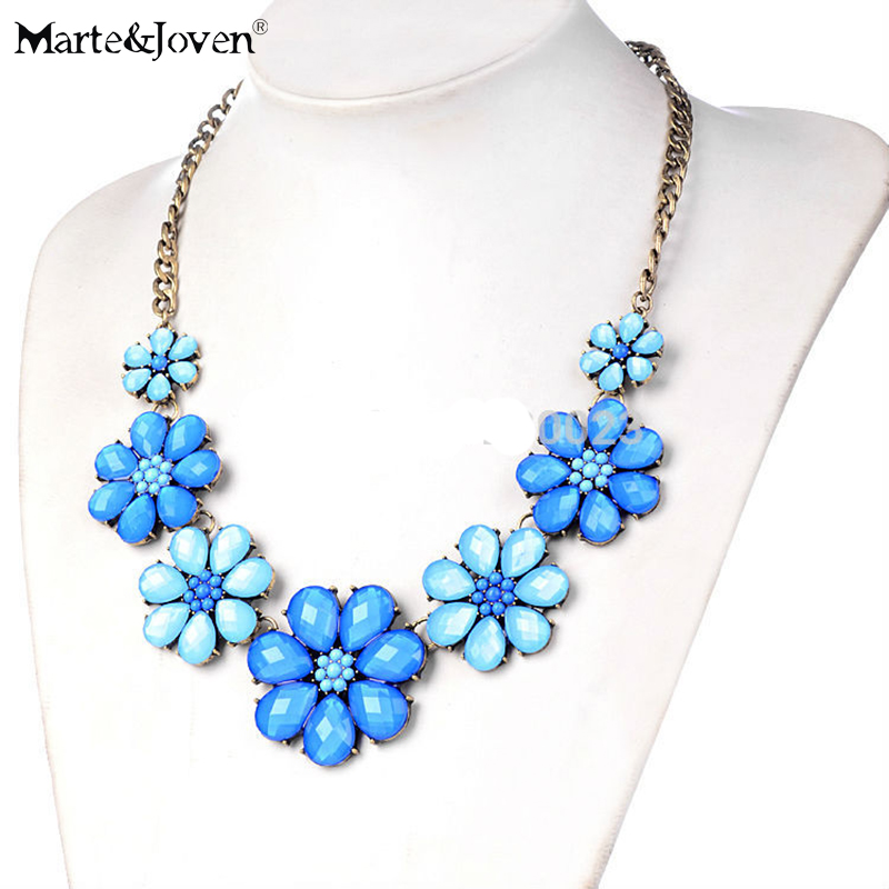 [Marte&Joven] Fashion Candy Color Resin Accessories Blue Flowers - Fashion Jewelry
