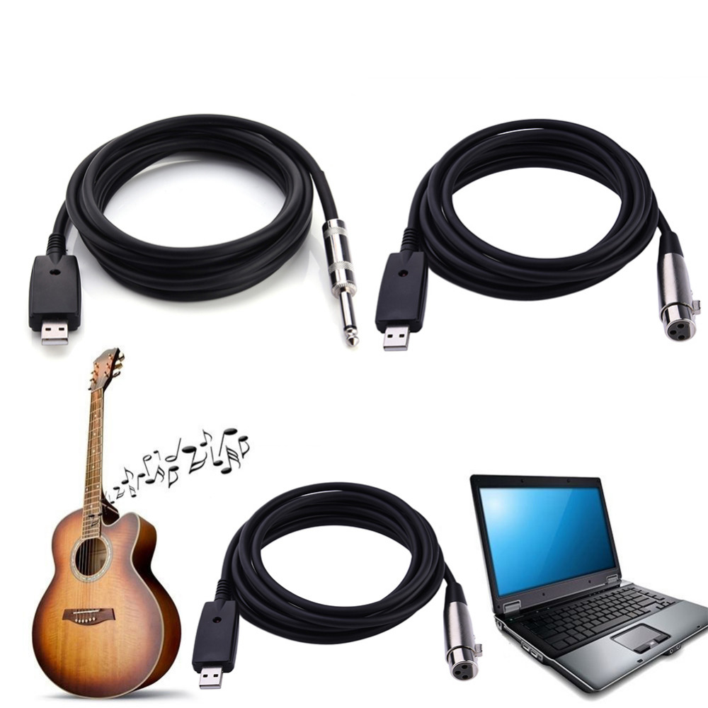 buy 3m length usb to guitar microphone cable usb to xlr computer. Black Bedroom Furniture Sets. Home Design Ideas