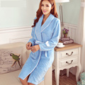 Fashion winter women thickening flannel robe twinset 2017 new coral fleece sleepwear lounge spaghetti strap nightgown bathrobes