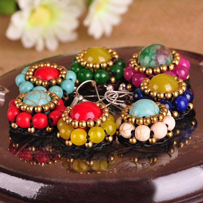 2017 font b Women b font Ethnic Stone Flower Beads Earrings Dangle Weaving Long Hooks Earrings