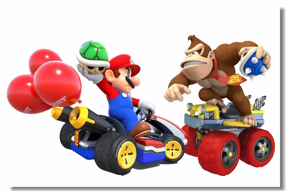 Custom Leinwand Wand Abziehbilder Super Mario Kart Poster Donkey Kong Mario  Kart Schlacht Tapete Prinzessinnen Wandbild Wand Aufkleber #0478 #