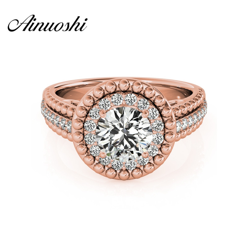 AINUOSHI 925 Sterling Silver Lady Rose Gold Color Engagement Bridal Ring Sona Round Cut Halo Wedding Lover Ring Anillo de mujer ainuoshi trendy 925 sterling silver women wedding engagement ring halo 0 5ct emeralded cut ring aniversary gifts anillo de plata