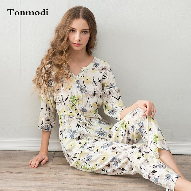 Pajamas For Women Spring And Summer Sleepwear Cotton Lycra Three Quarter  Sleeve Trousers Pajama Sets Ladies f83a12e0d