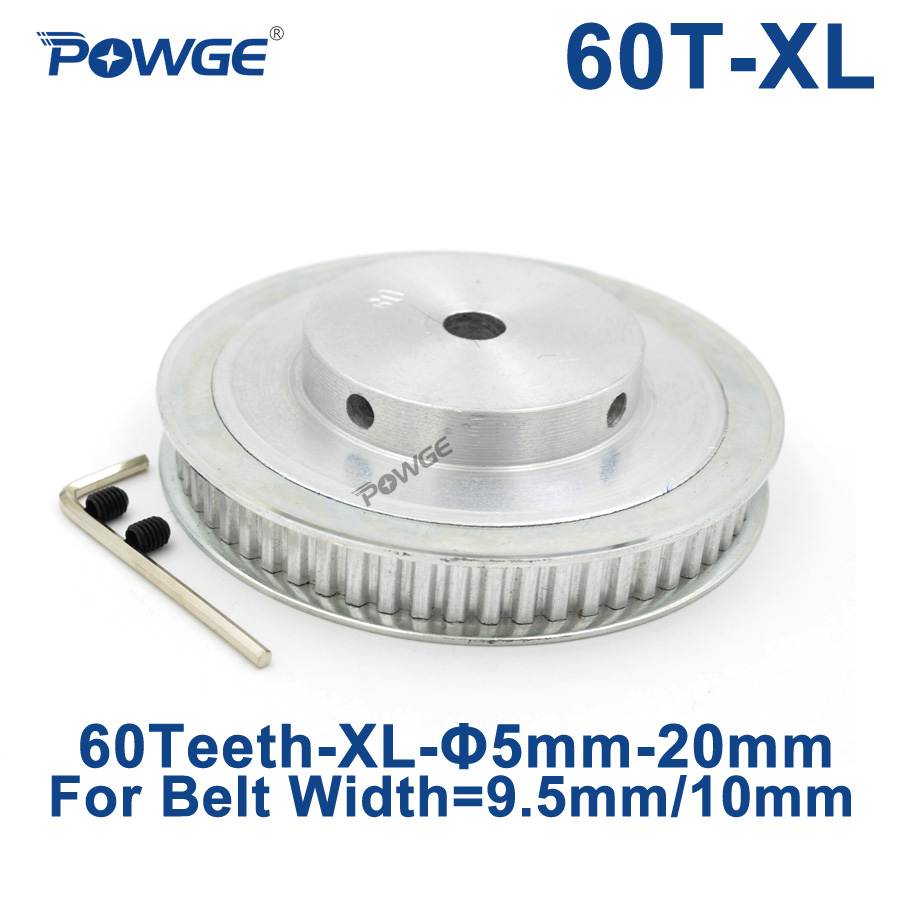 POWGE 60 Teeth XL Synchronous pulley Bore 5/6/8/10/12/14/15/17/19/20mm for width 9.5mm Timing Belt 60-XL-037 BF 60teeth 60T все цены