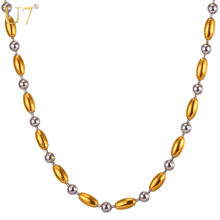U7 Two Tone Stainless Steel Rice Beads Chain Necklace Choker 5MM Punk Hip Hop Necklaces For Women/Men Jewelry N1103(China)