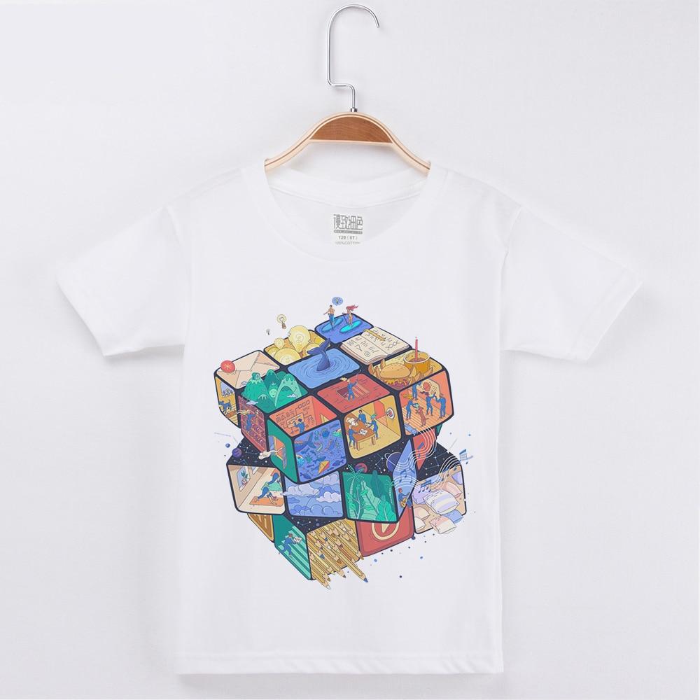 Novas Crianças T-shirt Cubo 3D Design Impressão Algodão de Manga Curta Camisa Criança Meninos Camisetas Crianças Tops Meninas Roupas Menino tees Top