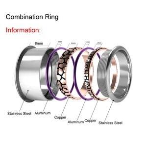Image 4 - Floya נמר Stackable טבעת לנשים Rotatable נירוסטה להקת מלטה את הארקטי סימפוניה טבעות סט אוסף תכשיטים
