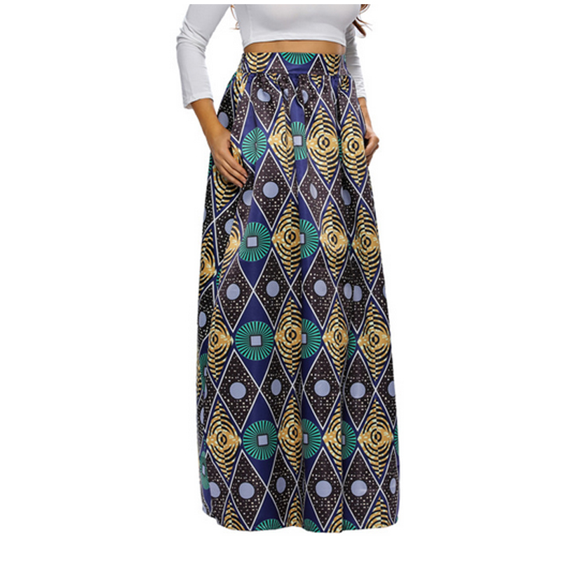 b592e3334eae US $34.8 |FS Lange Maxi Rock Für Frauen Neue Ankunft Damen Multicolor  Vintage Tribal Afrikanischen Gebunden Hohe Taille A linie Rock in FS Lange  Maxi ...