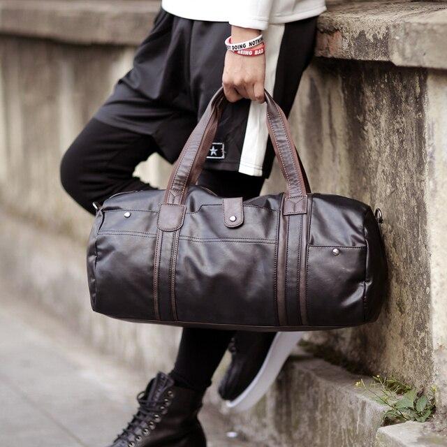 high quality brand men leather travel bag men's vintage duffel bag large capacity bag shoulder strap tote