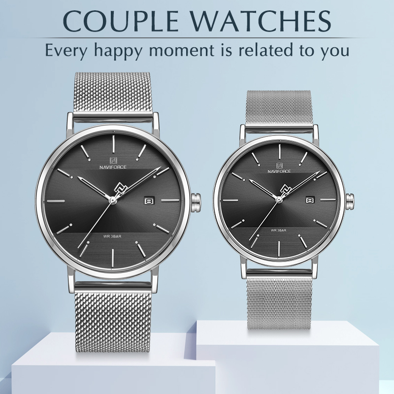 NAVIFORCE Lover's Watches for Men and Women Fashion Dress Wristwatch Waterproof Date Clock Couple Watch Gifts Set for Sale