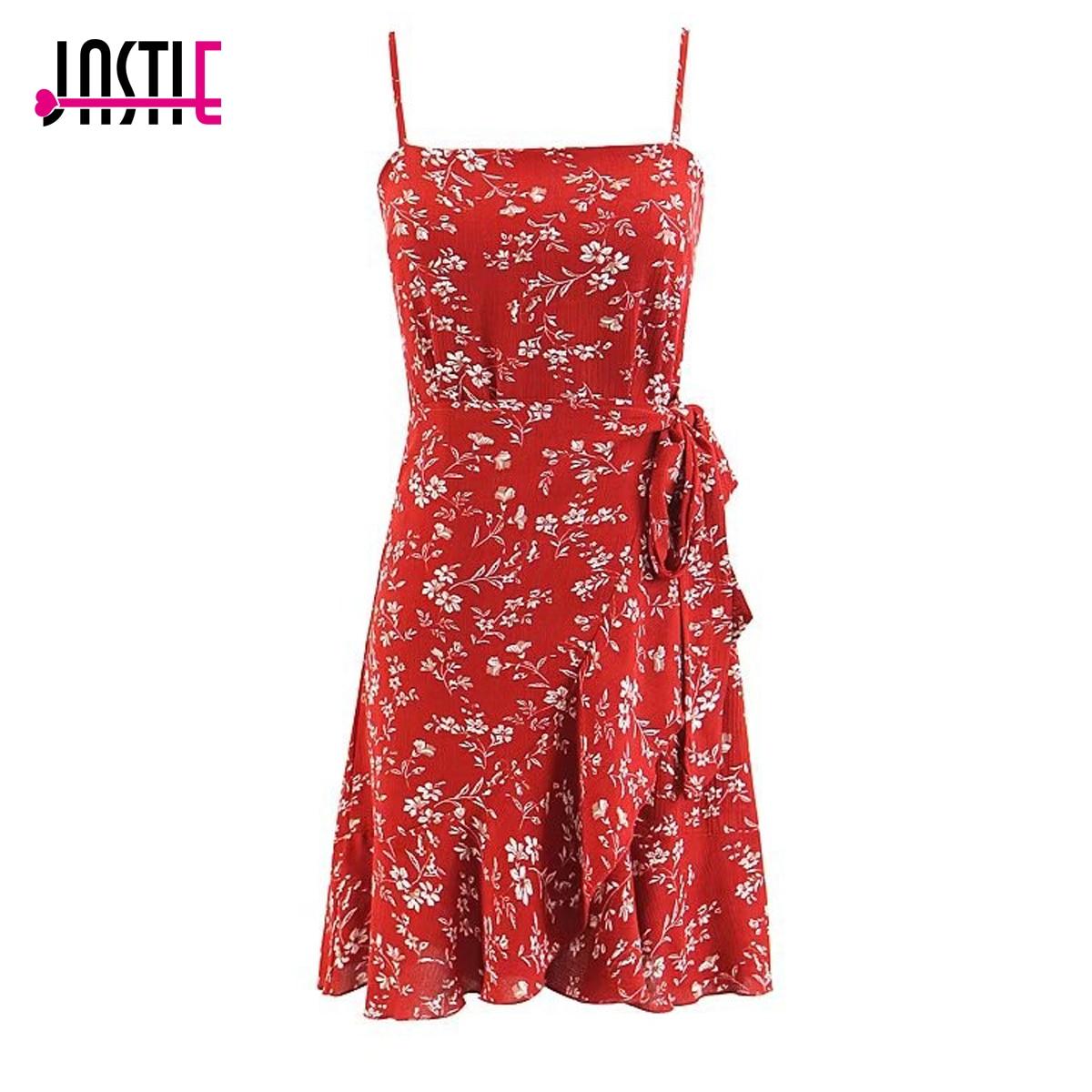 b11a39f919c Jastie Floral Print Dress Sleeveless Spaghetti Strap Dresses Boho Chic  Ruffle Hem Mini Dress 2018 Summer Women Dresses Vestidos-in Dresses from  Women s ...
