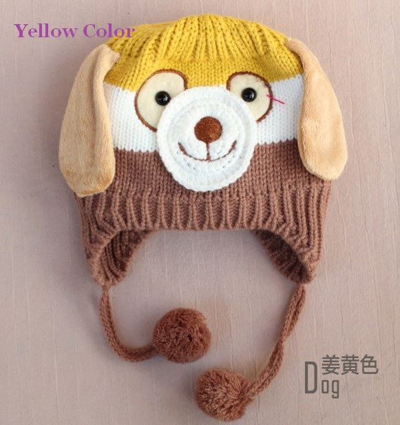 Winter Kids Neck Wrap Scarf Cute Cartoon Dog Puppy Caps Soft Wool Knitted Cap Baby Boy Girls Hooded Shawl Crochet Hat M24 - Lucinda's Potato store