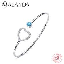 0cffeb0ce43f MALANDA de plata esterlina de cristal de Swarovski pulseras brazaletes para  las mujeres de moda doble corazón abierto pulsera jo.