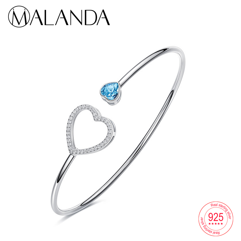 MALANDA Sterling Silver Crystal From Swarovski Bracelets Bangles For Women Fashion Double Heart Open Bracelet Wedding Jewelry