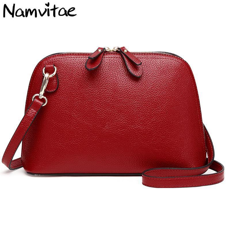 Namvitae Brand Genuine Leather Women Messenger Bag High Quality Cow Leather Small Crossbody Shell Bag Women Fashion Shoulder Bag