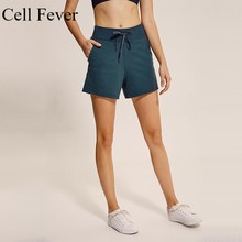Women's Sports Shorts Loose Fit Lace-up Running Quick Dry Shorts Female High Waist Athletic Workout Fitness with Side Pocket lace up raw hem pocket shorts