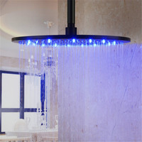 Water power 12 inch Stainless Steel Round Rain Shower Head with 3 Colors Temperature Sensitive Led, Oil Rubbed Bronze LD8030 E7