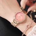 HK GUOU  модные брендовые 5 видов цветов часы  розовое золото  сталь  ремешок  женские кварцевые часы со стразами  водонепроницаемые  подарок  Ро...