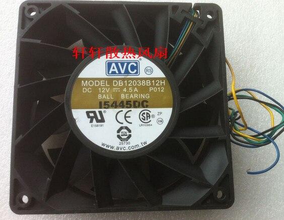 Free Shipping For AVC DB12038B12H, P012 DC 12V 4.5A, 120x120x38mm 4-wire 110mm Server - Square Fan delta pfc1212de 120 120 38 mm 12038 1238 12cm dc 12v 4 80a server inverter cooling fan