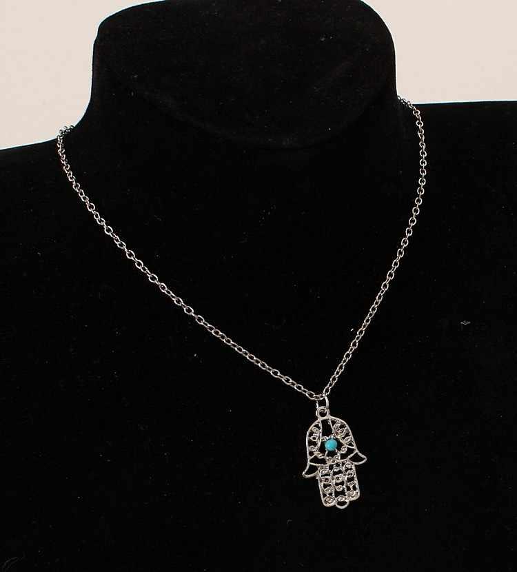 Vintage Fashion Jewellery Oro argento Catena Fatima Mano di Hamsa Pendenti Collana Fortuna la Palma della Mano Nizza Collana Collares