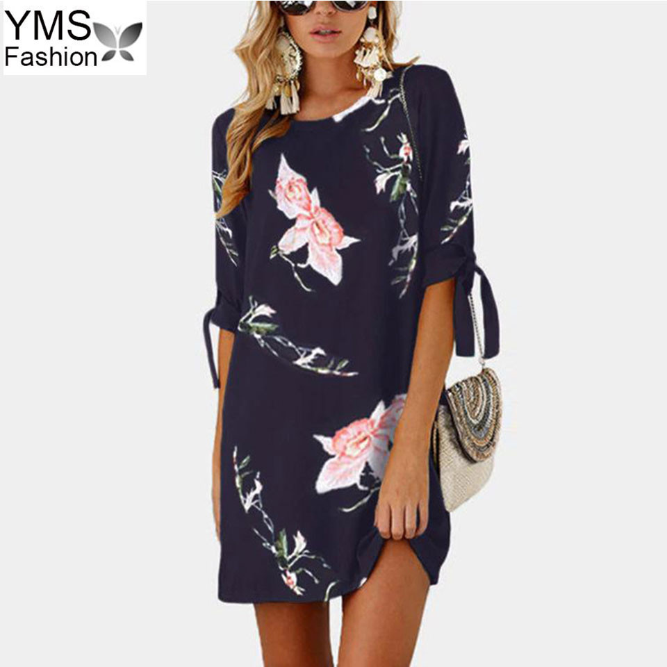 a78e41616347 5XL Plus Size Sumer Beach Dresses For Women 2018 Bow Tie Half Sleeve Floral  Print Chiffon