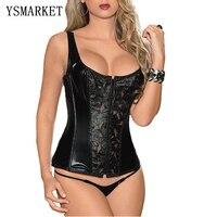 Seksi kadın Deri Lingerie kemikli faux deri korse fermuar ön ve cinching için güçlü bağcık kablosu E50034