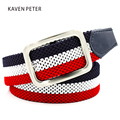 2016 Fashion The Newest Luxury Gentleman Golf Belt Men's Elastic Reversible Belt With Mixed Color Stretch Woven Canvas Belt