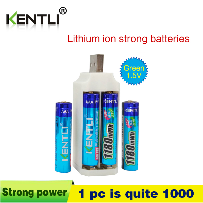 4pcs KENTLI  1.5v 1180mWh aaa polymer lithium li-ion rechargeable batteries battery + 4 slots lithium li-ion charger 423455 3 7v 780mah rechargeable lithium ion polymer battery