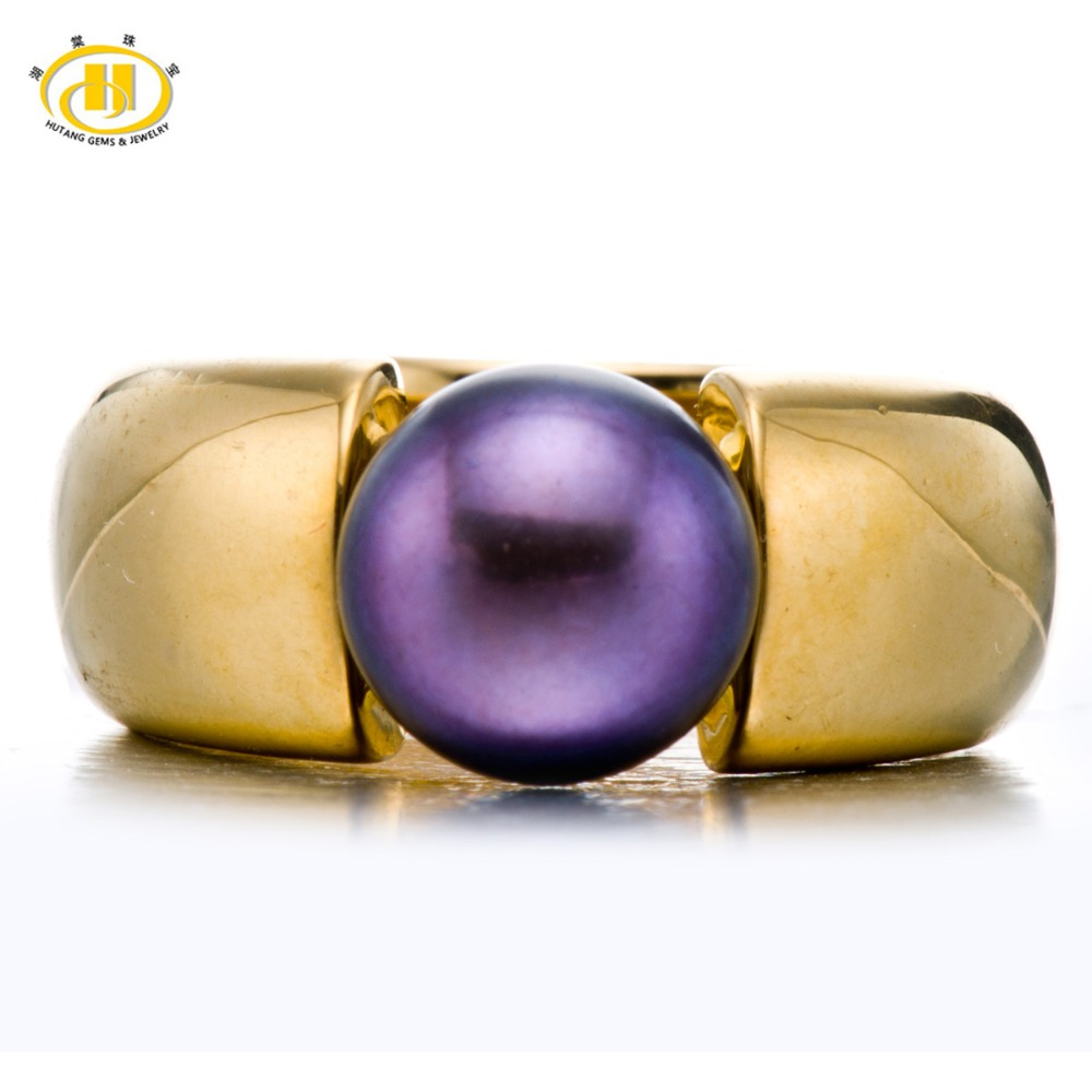 Hutang Black Purple Freshwater Cultured Pearl (9-9.5mm) Rings Solid 925 Sterling Silver Ring For Women Fine Elegant Jewelry Gift