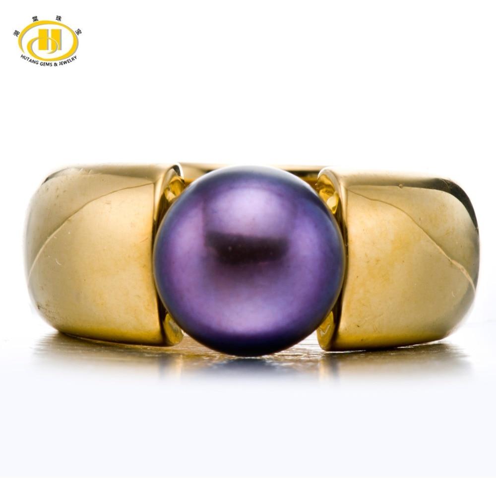 Hutang noir violet perle de culture d'eau douce (9-9.5mm) anneaux solide 925 bague en argent Sterling pour les femmes Fine élégante bijoux cadeau
