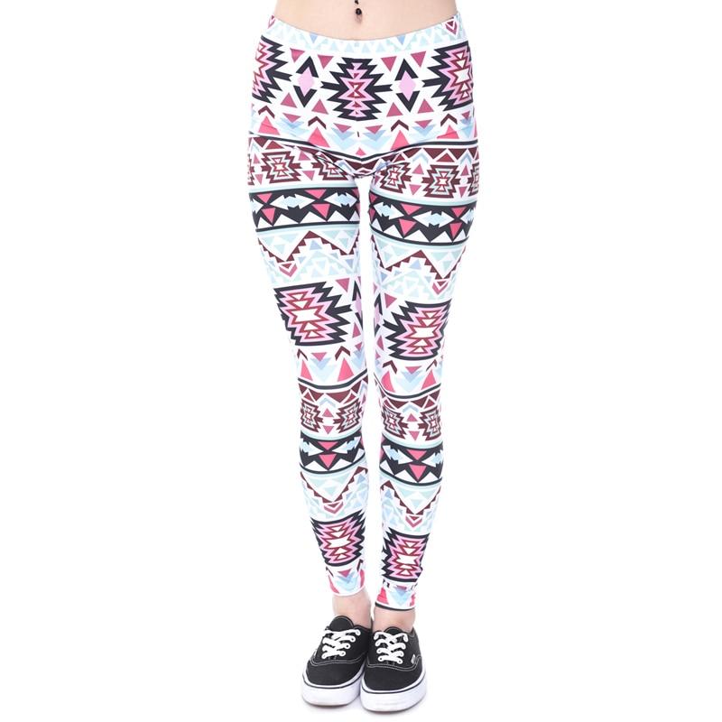 Brands Women Fashion Legging Aztec Round Ombre Printing leggins Slim High Waist  Leggings Woman Pants 31