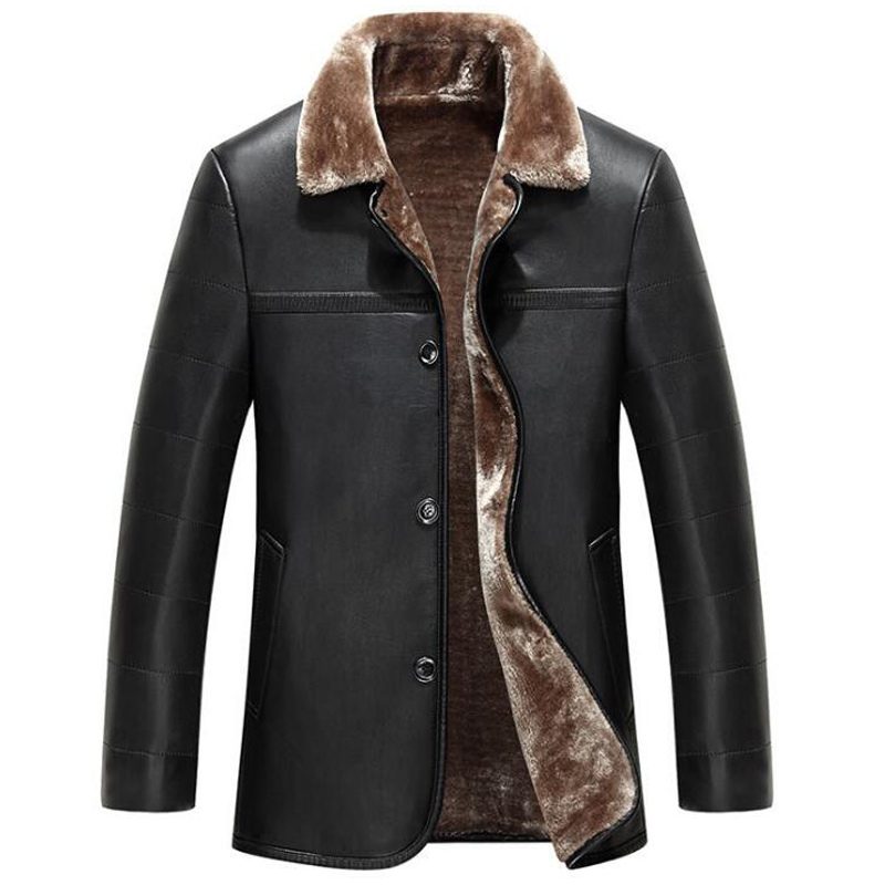 Luxury Shearling Winter Leather Jackets For Men Single Breasted Large Size XXXL Mens Fur Leather ...