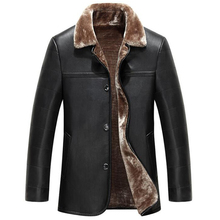 Luxury Shearling Winter Leather Jackets For Men Single Breasted Large Size XXXL Mens Fur Leather Coats Branding Clothes C334
