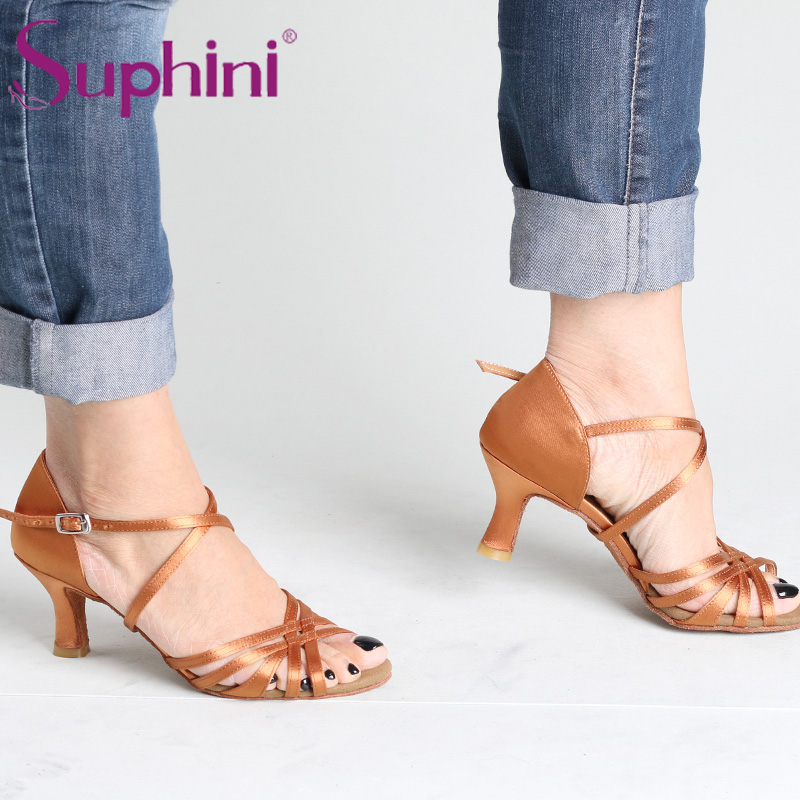 Тегін жүкті Suphini Deep tan Salsa Латын Dance Shoes Әйелдер Fast Delivery Professional Lady Латын Dance Shoes