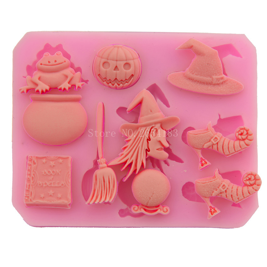 Halloween Broom Pumpkin Frog Witch Silicone Fondant Soap 3D Cake Mold Cupcake Candy Chocolate Decoration Baking Tool FQ2793