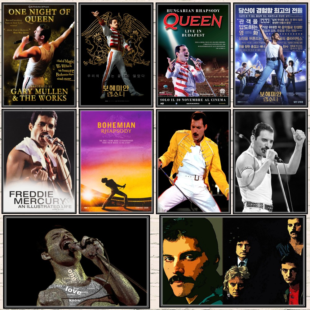 Queen Band Music Coated Paper Posters Bohemian Rhapsody Film Posters Vintage High Drawing Core Decorative Painting Wall Sticker