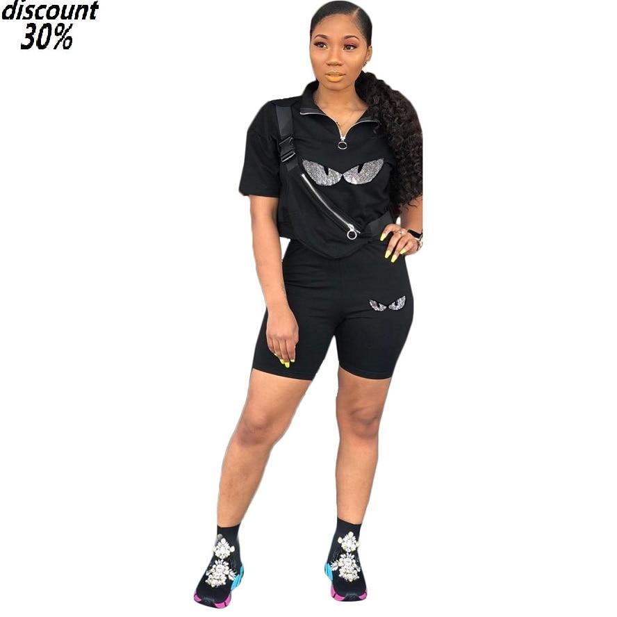 >Sequin <font><b>Short</b></font> Set Cartoon Eye Top <font><b>Shorts</b></font> Women Sets Two Piece Set <font><b>Biker</b></font> <font><b>Shorts</b></font> <font><b>Outfit</b></font> 2pcs Pants 2019 Fashion Summer Tracksuit