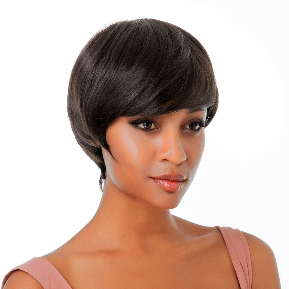 HairUGo Short Bob Wigs For Black Women Remy Straight Human Hair Wig 4 Inch 100% Human Hair Machine Made No Smell H.NINA Wigs